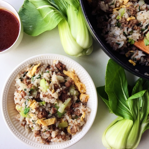 Fried rice with bok choy and minced beef